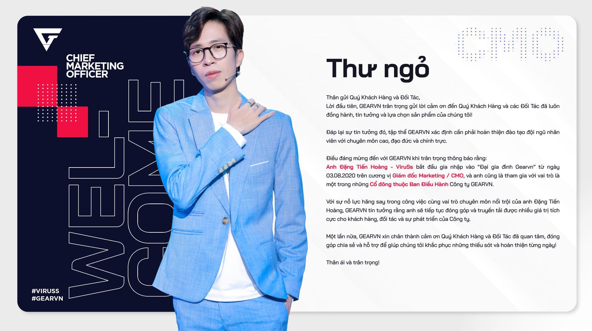 Hoàng ViruSs làm giám đốc Marketing cho Gearvn