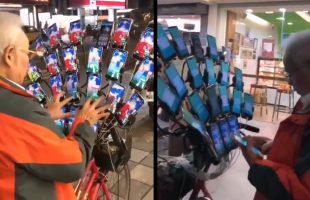 """Cụ ông game thủ Đài Loan đã """"lên đời"""", gắn đến… 21 chiếc di động lên xe đạp để đi bắt Pokémon"""