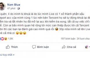 Hai tài khoản PUBG Mobile ban 10 năm của Nam Blue đã được Tencent trả tự do, nguyên nhân được tiết lộ