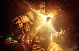 """Captain Marvel """"hạ gục"""" Thanos bằng một đấm: Điều chỉ thấy trên poster của fan"""