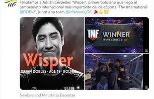Vượt qua mọi khó khăn vẫn thi đấu thành công ở TI9, game thủ được cả Bộ truyền thông Bolivia chúc mừng