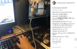 """SKT Bang khiến fan hâm mộ cạn lời vì bị bệnh cấp cứu mà vẫn tranh thủ """"trốn viện ngồi net"""""""