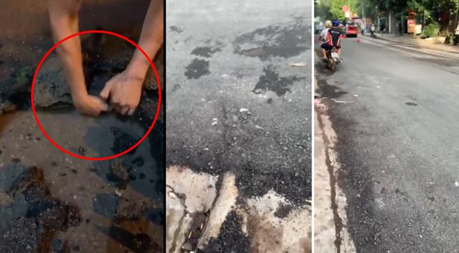 Dân mạng tung clip bóc nhựa đường bằng tay, công ty sửa chữa đường phải làm lại toàn bộ đoạn đường