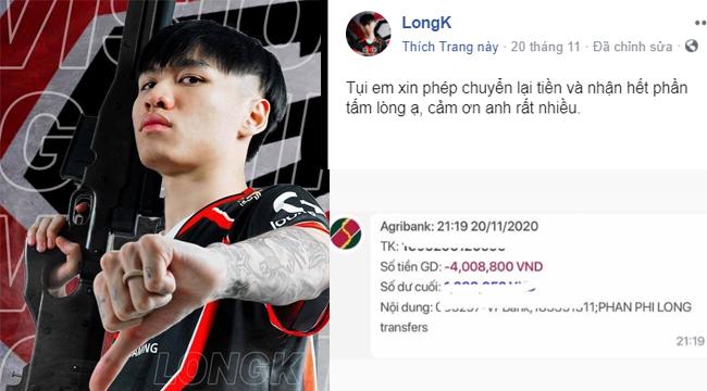 """Fan donate 4 triệu mừng chiến thắng, nam tuyển thủ PUBG trả lại vì """"chỉ nhận tình cảm"""""""