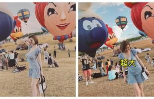 """Tham dự lễ hội khinh khí cầu, cô gái gây chú ý với vòng một gợi cảm, cộng đồng mạng cảm thán """"Bét phải G-Cup"""""""