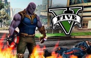 Chán đánh nhau với Avengers, Thanos chuyển gu sang đập phá thế giới GTA V